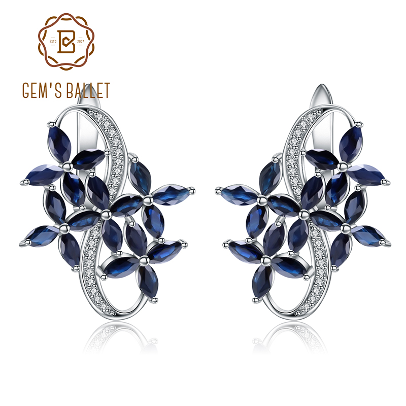 GEM S BALLET Solid 925 Sterling Silver 8 71Ct Natural Marquise Blue Sapphire Gemstone Stud Earrings
