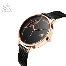Creative dial display Women Watch Lady Casual  Fashion Clock Stainless Steel Mesh Band Desgined Quartz Watch Female Gift Shengke стоимость