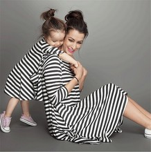купить mother daughter dresses striped mommy and me clothes family look mom mum and daughter dress clothing family matching clothes YN дешево