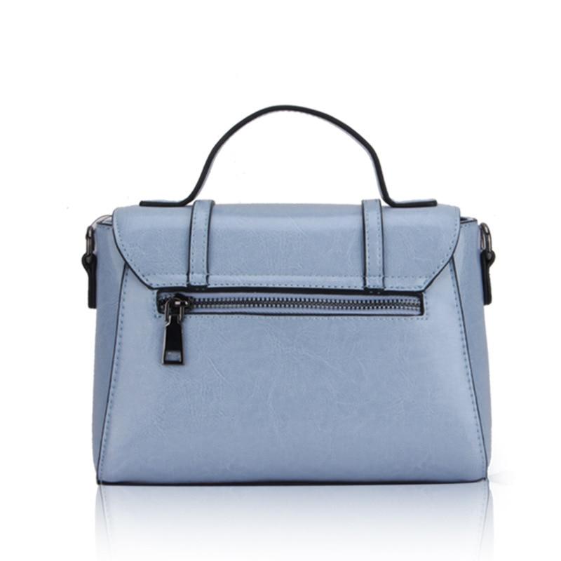 Genuine Leather Shoulder Bag Small Square Bag Fashion Blue Cover Handbag Women