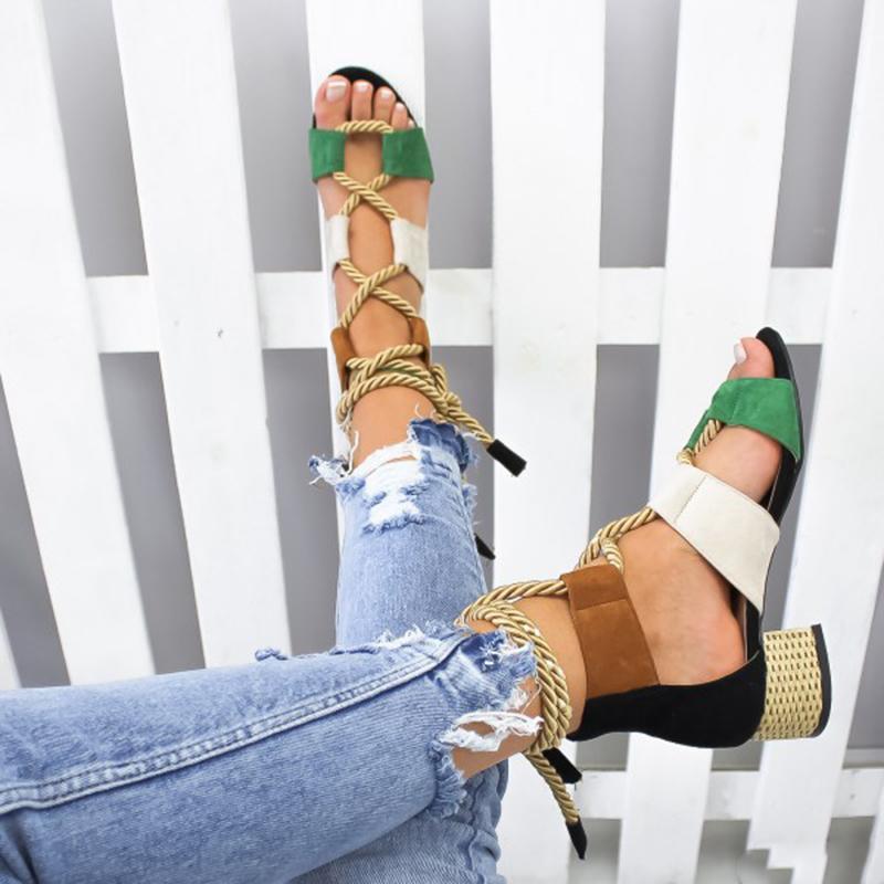 HTB1CEtsXRiE3KVjSZFMq6zQhVXaU Laamei 2019 New  Espadrilles Women Sandals Heel Pointed Fish Mouth Fashion Sandals Hemp Rope Lace Up Platform Sandal