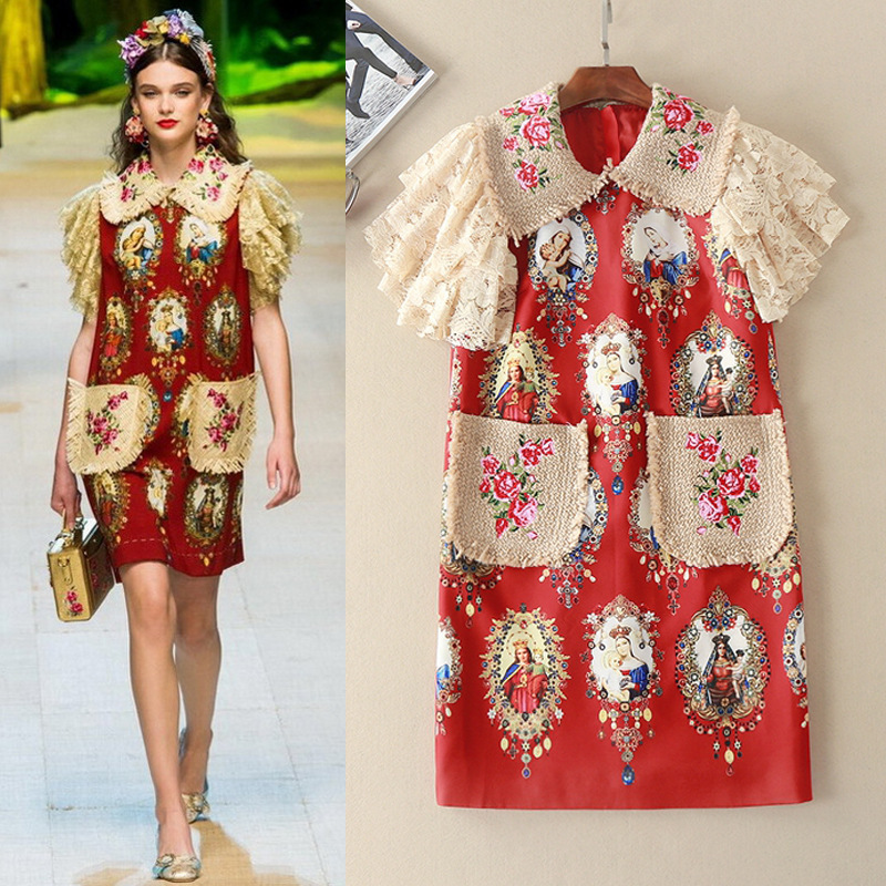 2017 New Luxury Boutique 80s Vintage Print Embroidery Retro Style Dress In Dresses From Women 39 S