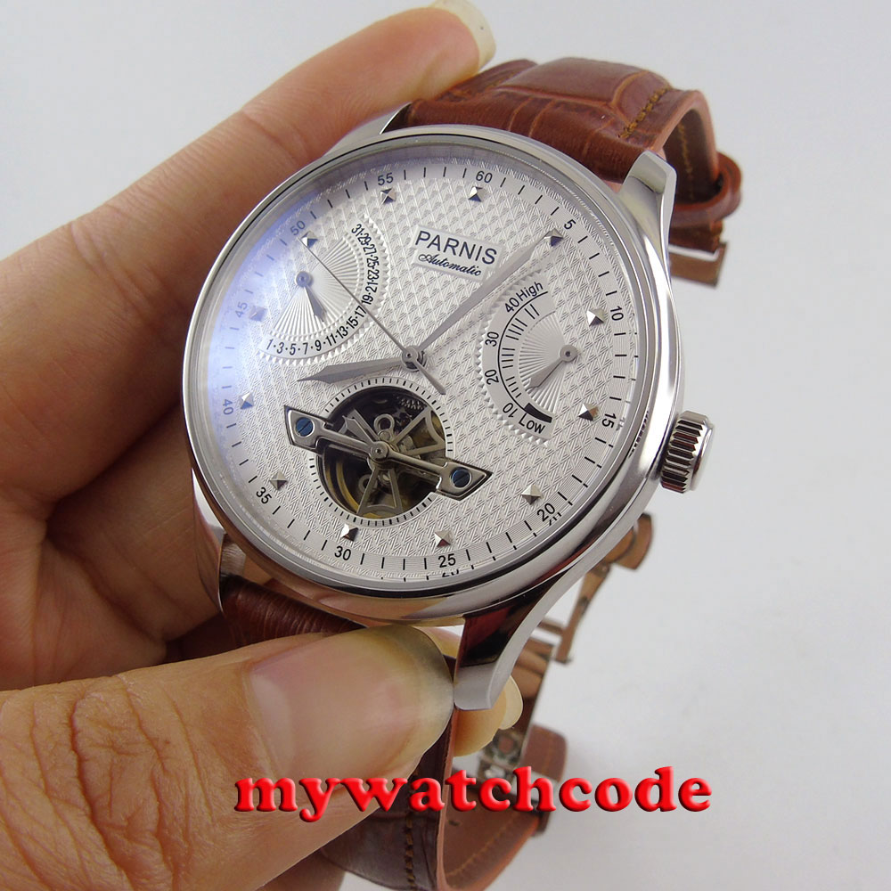 43mm parnis white dial brown leather strap power reserve indicater deployment clasp sea gull 2505 automatic