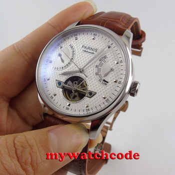 43mm parnis white dial brown leather strap power reserve indicater deployment clasp sea-gull 2505 automatic mens watch P413 - DISCOUNT ITEM  29% OFF All Category