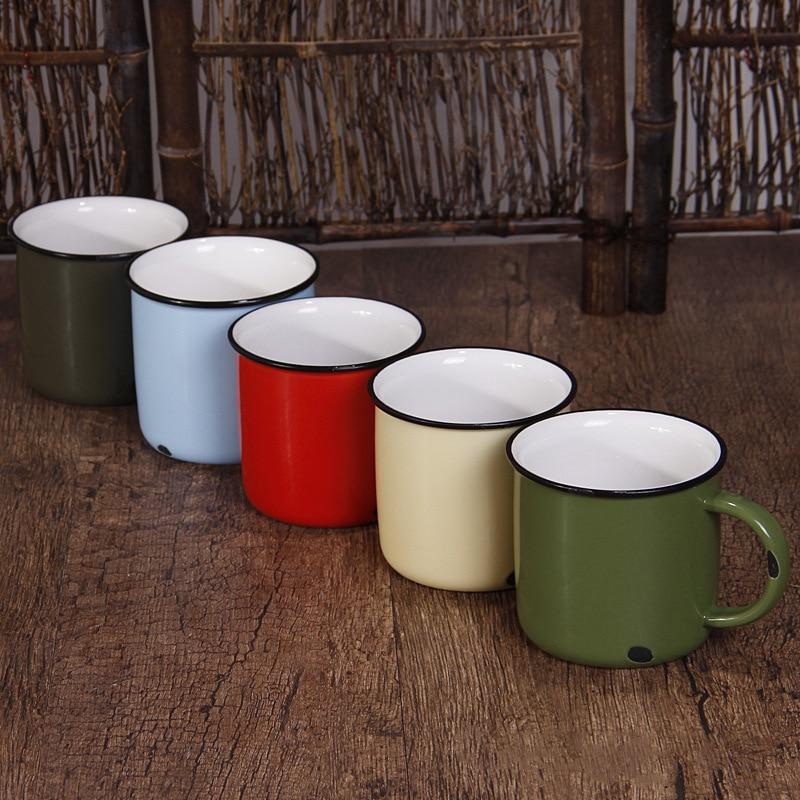 2018 nouvelle tasse en céramique vintage émail café lait chaud thé marque de tasse maison bureau imitation antique rince-bouche petit déjeuner tasse d'eau