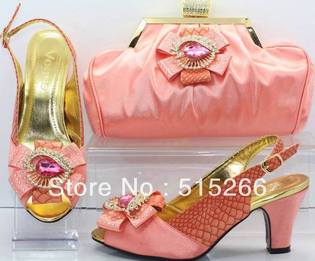 FREE SHIPPING! Hot salling Fashion Italy design shoes and matching bags ,peach,Size 41, SB8704