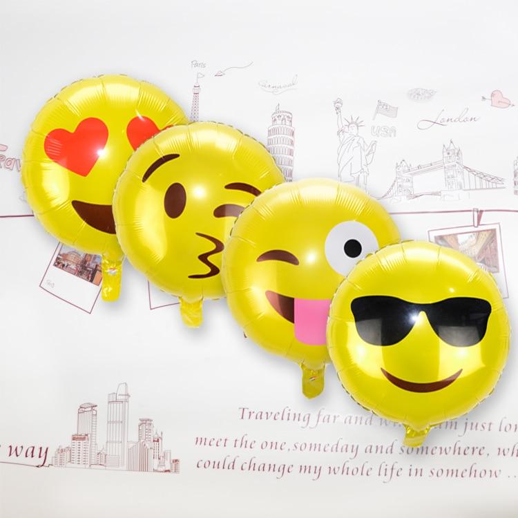 """4pcs/lot Emoji Balloons 18"""" Emoji Cool Mylar Balloon / Emoji Cool Face Balloon/ Funny Birthday Balloon"""