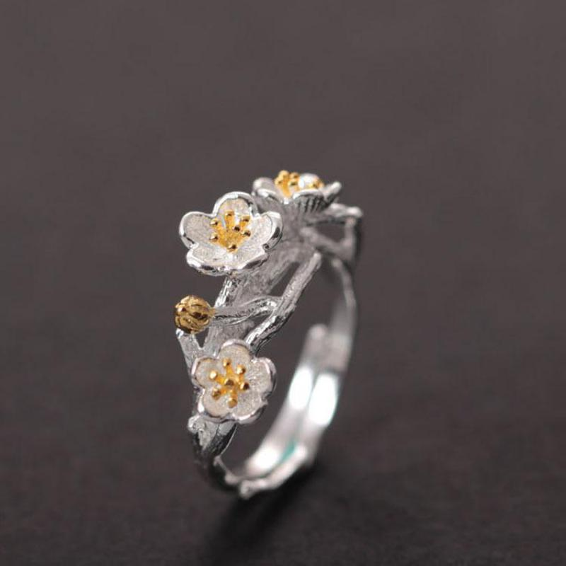 Sterling Silver Plum Flowers Ring