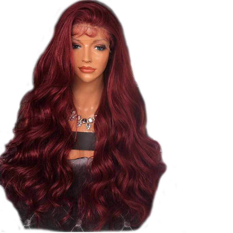 DLME Synthetic Lace Front Wig With Baby Hair 26Inch Long Burgundy Wig 180% Density Gluel ...