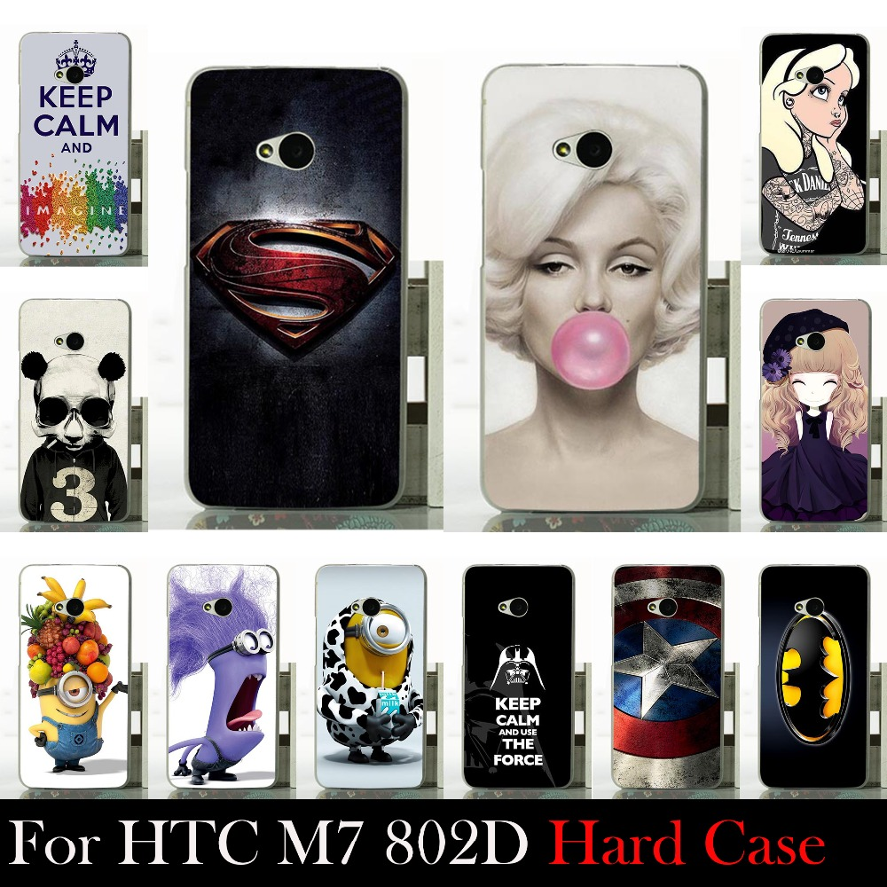 FOR HTC One M7 Dual Sim 802d 802t 802w Hard Plastic Mobile Phone Cover Case DIY Color Paitn Cellphone Bag Shell Shipping Free