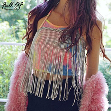 Bling metal Body Chest chain Crop Top Women Sexy Beach Halter tassel Chic Sequins Sparkling Nightclub queen Party crop Tank tops chic golden irregular tassel body chain for women