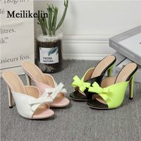 2019 sexy women's shoes stilettos high heeled Green Patchwork lady slipper thin heels Pink Bride Wedding female shoes Plus Size