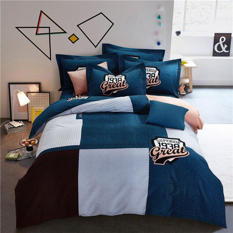 Neue Mode plaid Bettwäsche Set 4 stücke Bettbezug Sets Weiche baumwolle Bettwäsche Flachen Bettlaken Set Kissenbezug Drop Ship Heimtextilien