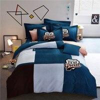 New Fashion plaid Bedding Set 4pcs Duvet Cover Sets Soft cotton Bed Linen Flat Bed Sheet Set Pillowcase Home Textile Drop Ship