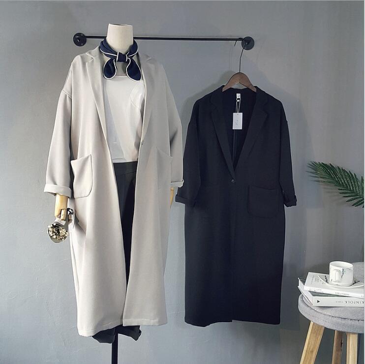 Women Chiffon Coats Black Gray Spring Women Coat Casual Loose Coat Bat Sleeved Open Stitch   Trench   Femme