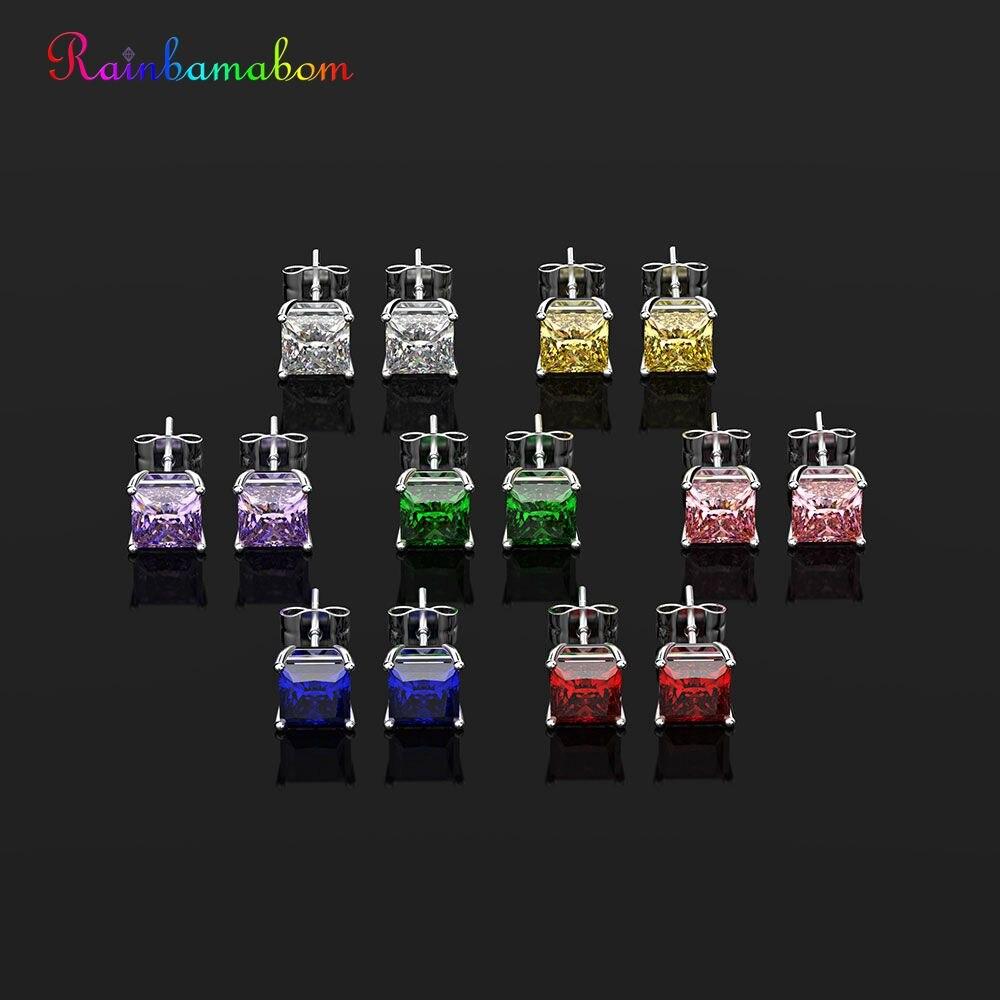 Rainbamabom Fine-Jewelry Women Earrings Moissanite Gemstone Created 925 Solid-Sterling-Silver