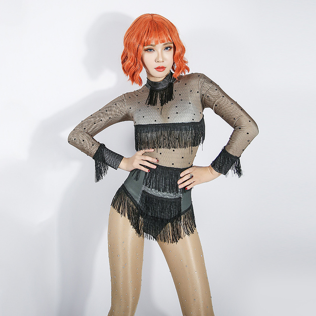 2019 Jazz Stage Costumes For Singers Female Black Tassel Bodysuit Nightclub Pole Dance Clothing Women Celebrity Show Wear DN2906