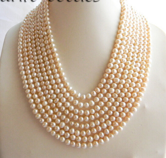 FREE shipping>>>>8Strands 18'' 6mm White Round Freshwater Pearl Necklace 6.07 цена 2017