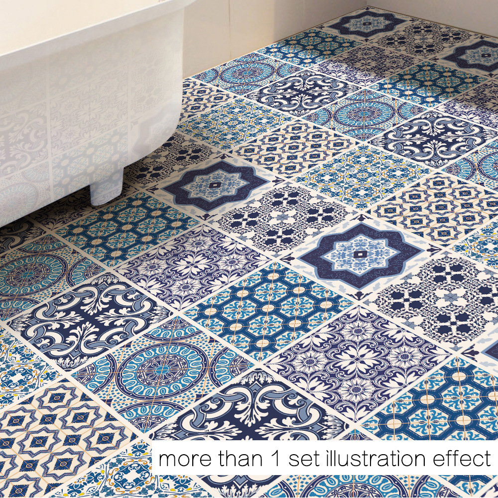 Floor Decor Coupons: Funlife Waterproof Floor Sticker,Classic Blue And White