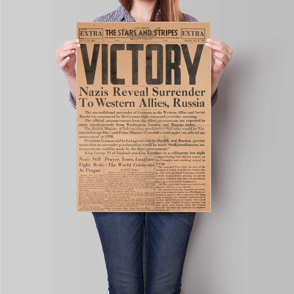 WW2 Newspaper Victory Retro Kraft Paper Poster Wall Sticker Old Photo Vintage Print Picture Bar Cafe Painting 45.5x31.5cm