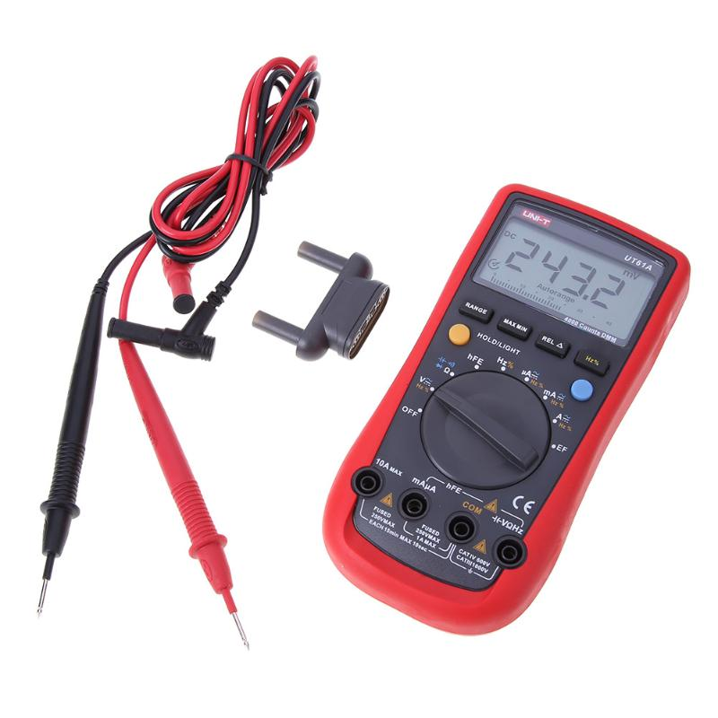 UT61A LCD Automatic Digital Multimeter 3999 Counts AC DC Voltage Current Resistance Capacitance Tester Backlight With Test Lead excel dt9205a 3 lcd digital multimeter black orange 1 x 6f22