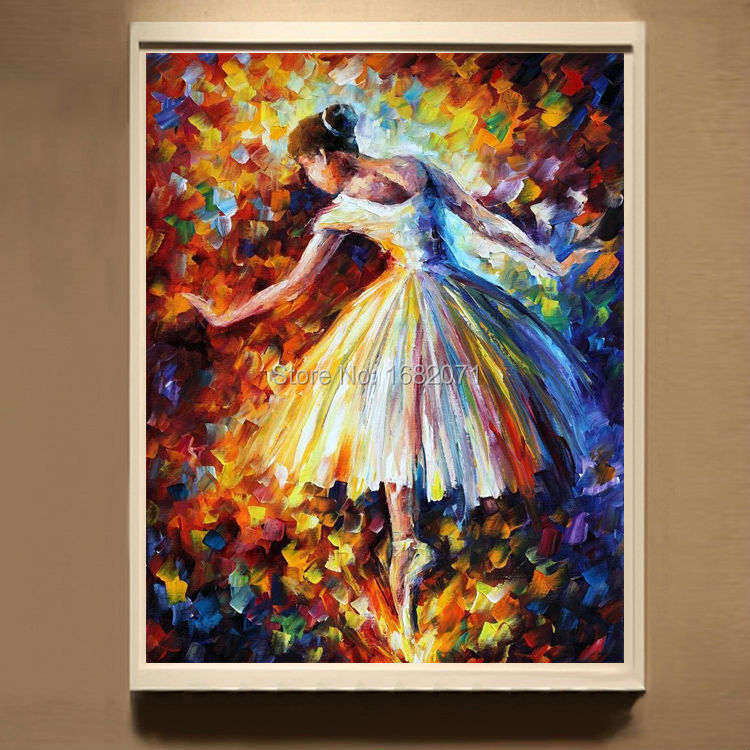 Skills Artist Hand Painted High Quality Abstract Knife Painting On Canvas Beautiful Ballet Dancer In Calligraphy