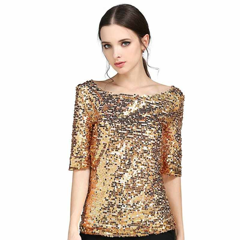 bc6c4afd152f7 2019 Plus Size Women Blouses Summer Fashion Sexy Sequined Embroidered Half  Sleeve Lady Tops Loose Casual Shirt Gold Blusas S-5XL