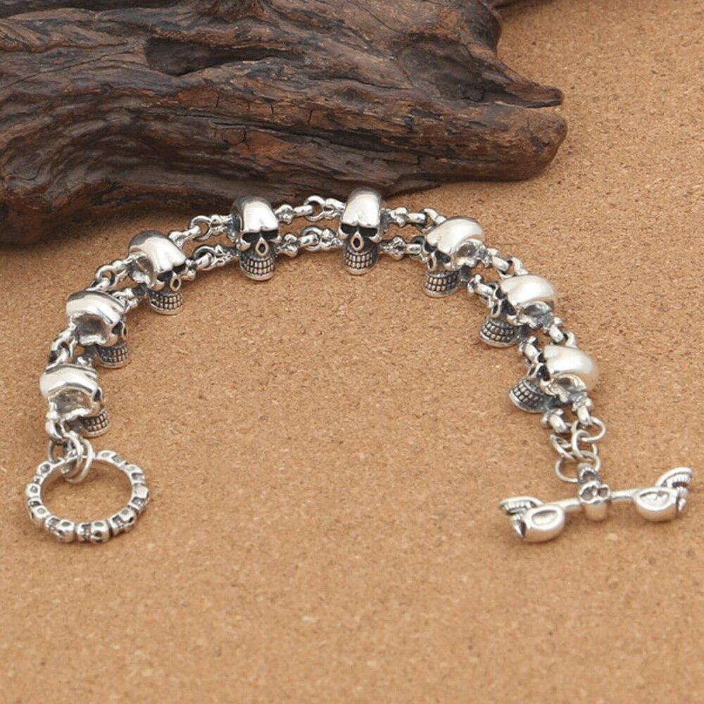 DL S925 Sterling Silver Trendy Punk Rock Men's Fashion Personality Skull Buckle Bracelet S129