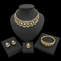 Yulaili Fashion Wedding Gift Jewelry Gold Color Water Drop Shape Crystal Earrings Necklace Rings Set Women Jewelry Sets
