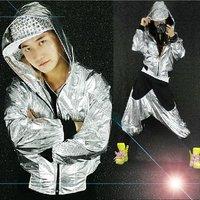 Songyuexia Jazz dance set hip hop hooded jacket costume HIPHOP hip hop shiny group metal color men and women
