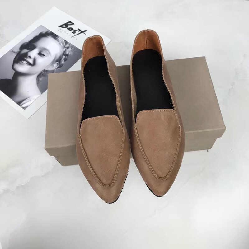 SexeMara nuevo 100% zapatos planos de cuero genuino para mujer cómodos suaves puntiagudos sólidos mocasines para mujer embarazada