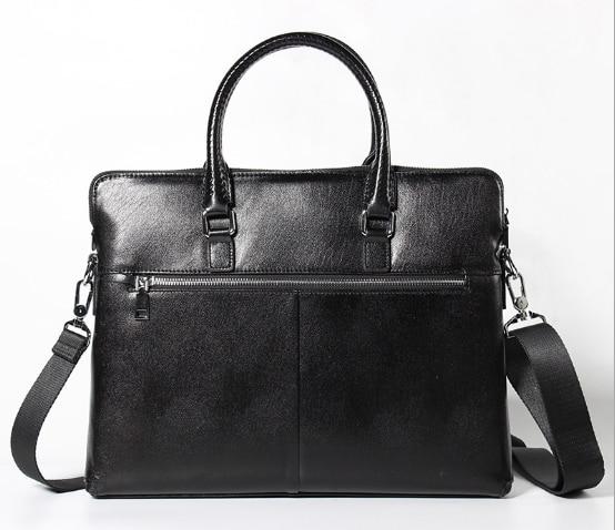 купить New Genuine Leather Business Briefcase Bag Zipper Vintage Men Shoulder Bag Simple Retro Messenger Bag Large Capacity HandbagL67 недорого