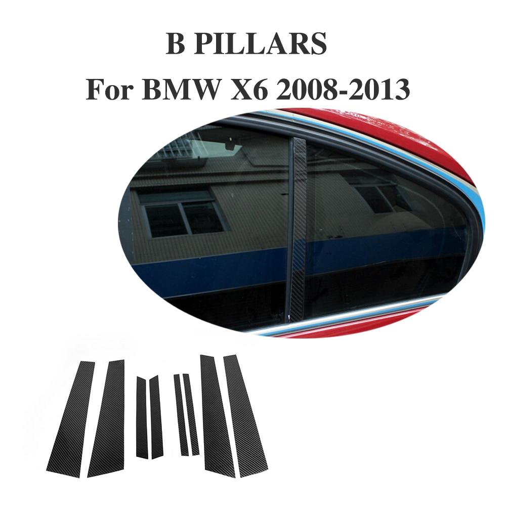 8PCS/Set Carbon Fiber Side Window B Pillar Moulding covers For BMW  X6 E71 X6M 2008-2013 Trunk Trim Stickers
