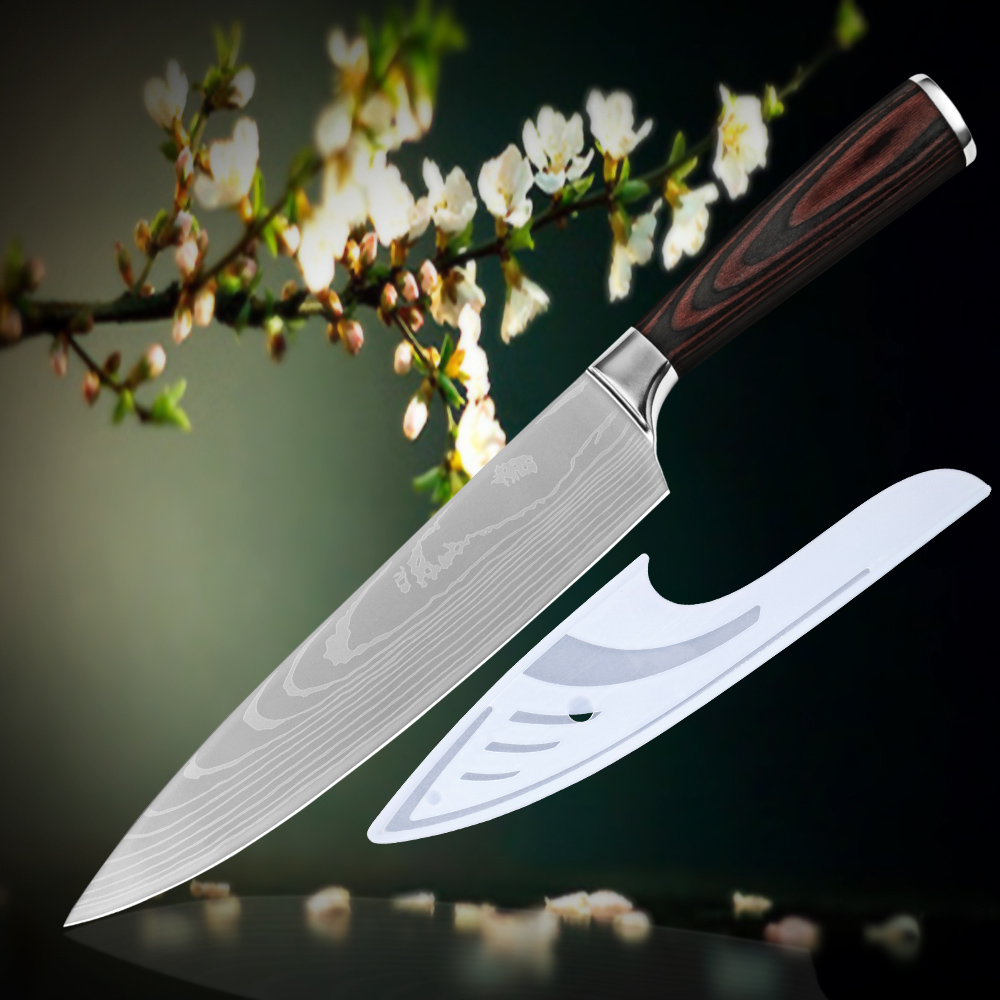 8 inch chef kitchen knife high carbon stainless steel Damascus veins new cooking tools pakka wood