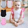 Niñas bebés blanco/rosa mameluco recién nacido 0-2years clothing verano de las muchachas del algodón de la colmena de la manga del mameluco del niño del mono