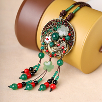 Jade National Wind Sweater Chain Artistic Long Fringed Necklace Pendant Chinese Wind Ms. necklace Pendant