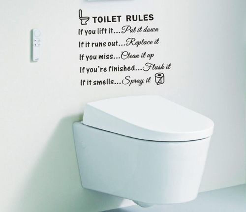 Toilet Rules Bathroom Toilet Wall Sticker Vinyl Art Decals DIY Home Decoration-in Wall Stickers from Home u0026 Garden on Aliexpress.com | Alibaba Group  sc 1 st  AliExpress.com & Toilet Rules Bathroom Toilet Wall Sticker Vinyl Art Decals DIY Home ...