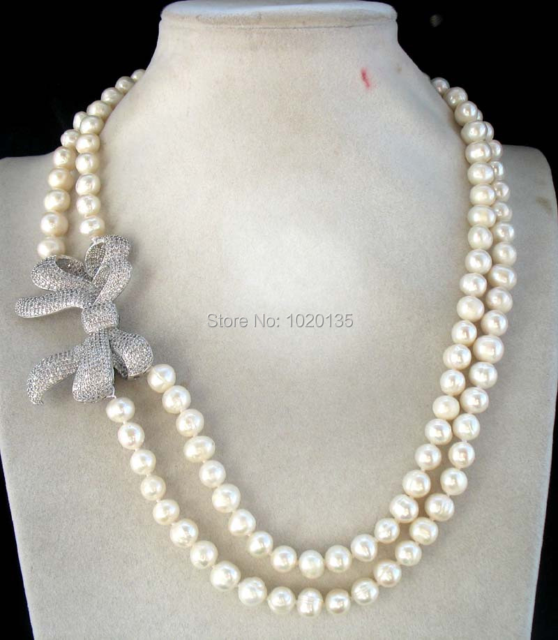 2rows freshwater pearl white  near round 8-9mm and bowknot  necklace 19-20inch fashion2rows freshwater pearl white  near round 8-9mm and bowknot  necklace 19-20inch fashion