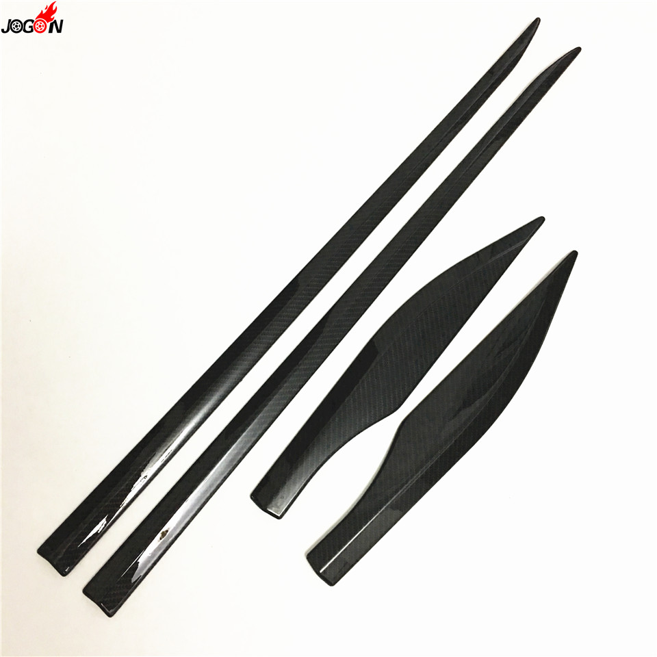 ABS Black Trim For Toyota C-HR CHR 2016 2017 Side Door Car Body Molding Cover 4pcs/set Carbon Fiber Look car styling abs chrome body side moldings side door decoration for hyundai ix35