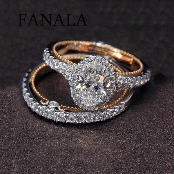 Cubic Women Jewelry Oval-Cut White 2Pcs Rhinestone Twist Bridal Ring Set