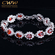 CWWZircons Beautiful Russian Design White Gold Color Big Red CZ Crystal Rhinestone Flower Charm Bracelets Bangle for Women CB161(China)