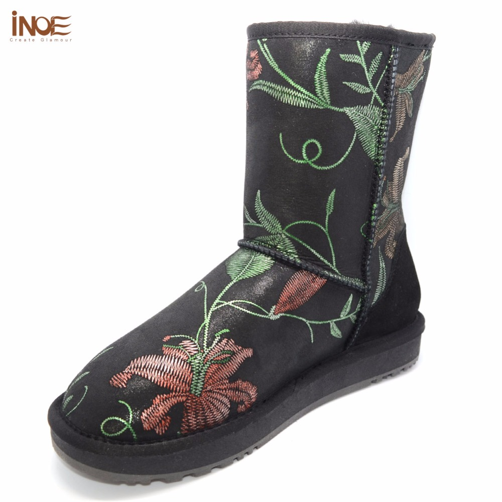 INOE 2018 New flower pattern sheepskin leather real sheep fur lined mid calf women winter snow