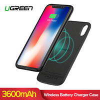 Ugreen 3600mAh Qi Wireless Charger Power Bank for iPhone X Xs Ultra Slim External Battery Charger Case for iPhone PowerBank