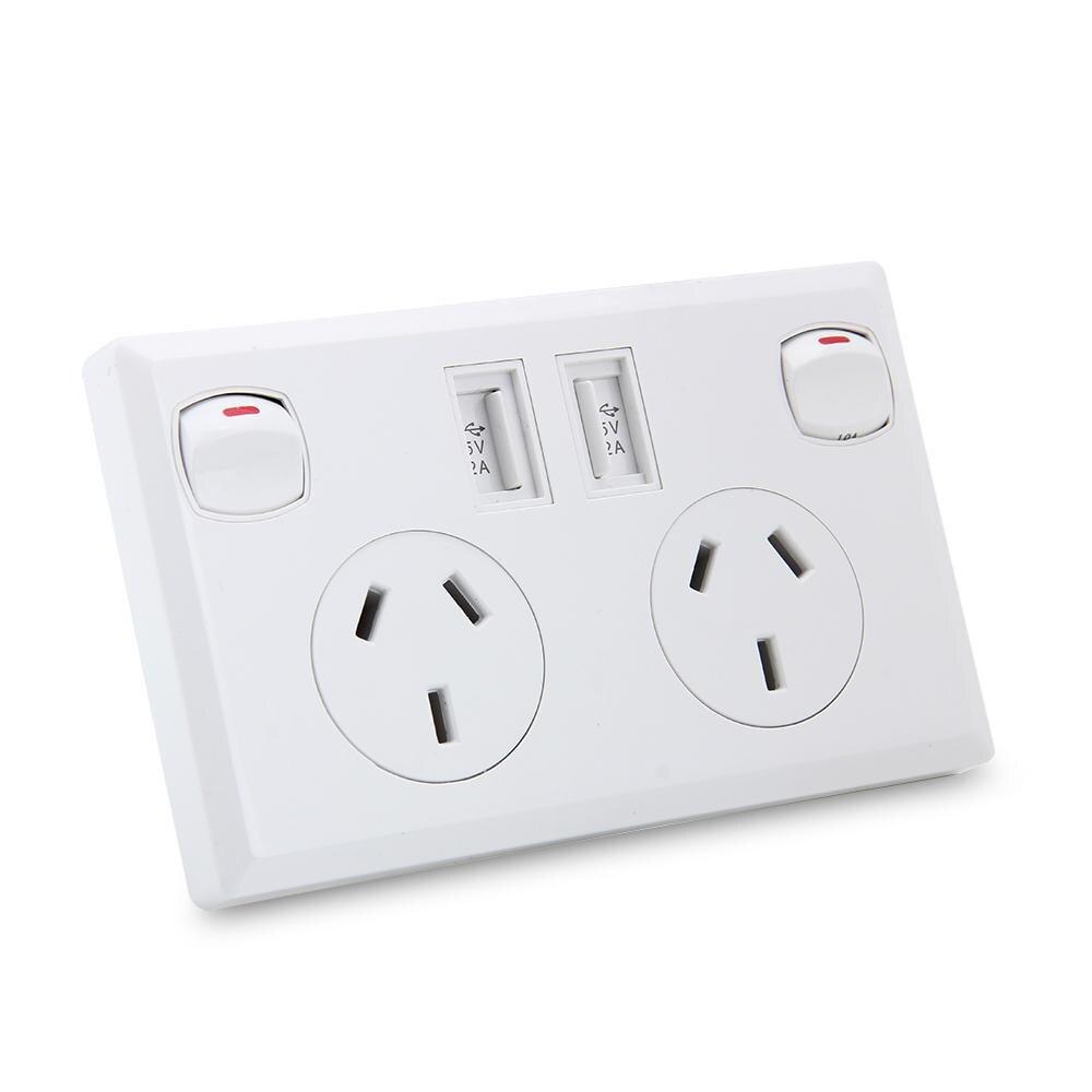Blanco Enchufe Cargador con 2 Puertos USB y 1 Toma de CA con Interruptor