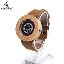 Bobo bird j10 натурального бамбука аналоговый кварцевые наручные часы дизайнер платья женщин часы с подлинной коричневый кожаный ремешок подарочной коробке