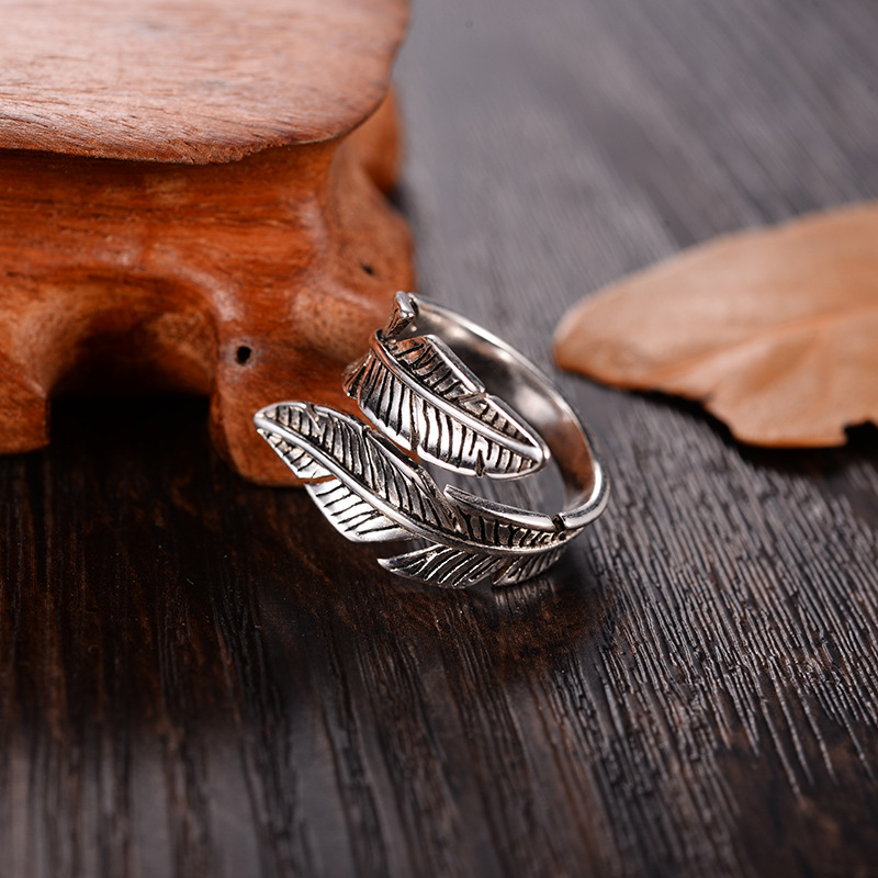 2021 Bijoux Fashion Real Silver Color Feather Rings for Women Boho Adjustable Antique Rings Anillos 2