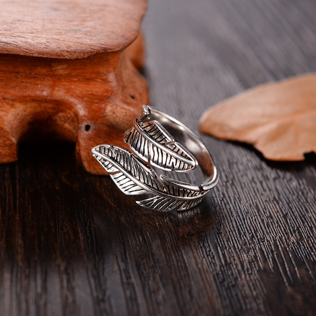 2019 Bijoux Fashion Real Silver Color Feather Rings for Women Boho Adjustable Antique Rings Anillos 2