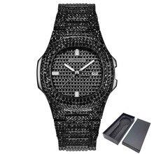 Роскошные часы с бриллиантами для мужчин и женщин в стиле хип-хоп, мужские кварцевые часы с ремешком из нержавеющей стали, деловые наручные часы для мужчин и женщин, подарок унисекс