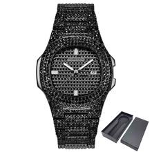 ICE-Out Bling diamentowy zegarek dla mężczyzn kobiety Hip Hop męskie zegarki kwarcowe pasek ze stali nierdzewnej biznes zegarek człowiek Unisex prezent tanie tanio Auto data Świetliste Dłonie Odporne na wodę QUARTZ 11mm Stop ROUND 3Bar ice out gold tone watches Papier Hardlex Bransoletka zapięcie