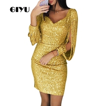 GIYU Sequins Women V Neck Long Sleeve Dress Party Mini Dresses Vestido Sexy Skinny High Waist robe femme giyu summer flower printing women long chiffon dress holiday bohemia dresses long sleeve vestido sexy high waist robe femme